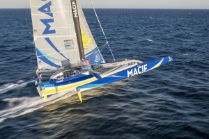 Aerial view of the Maxi Tri MACIF with french skipper Francois Gabart training with Pascal Bidegorry between Groix Island and Les Glenans, south brittany, prior to the Transat Jacques Vabre on september 30, 2015 - Photo Vincent Curutchet / DPPI / MACIF